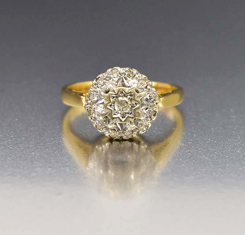 diamond unique matte gold vintage engagement solitaire delicate ring rings media classic