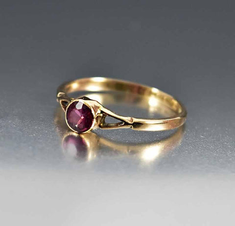 Antique English Gold Amethyst Engagement Ring