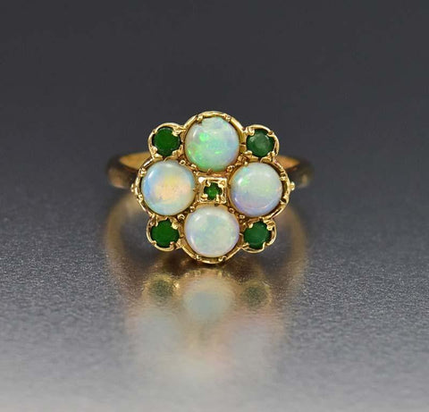 Exquisite Opal and Emerald English Estate Ring