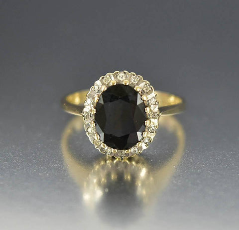 Vintage English Gold Sapphire Diamond Halo Ring