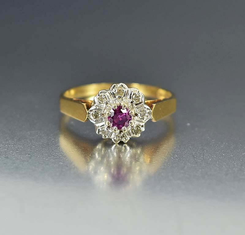 Estate Pink Sapphire and Diamond Engagement Ring - Boylerpf