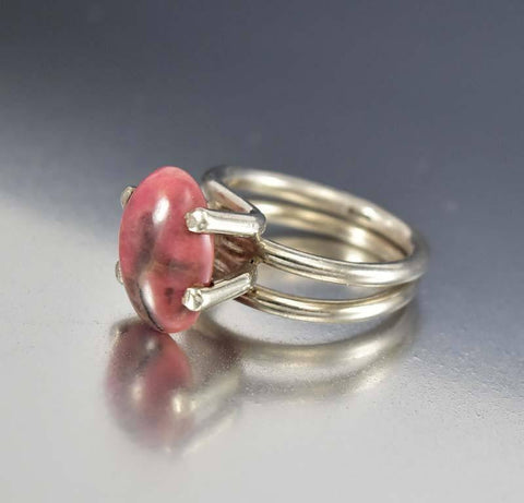 Modernist English Silver Pink Agate Ring