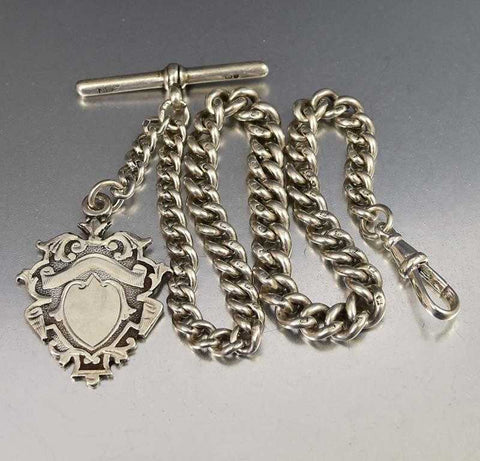 Fine Silver English Albert Watch Chain Necklace Bracelet w Fob