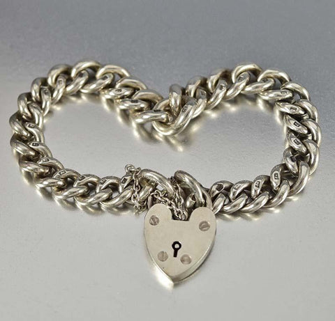 Albert Watch Chain Bracelet w Heart Padlock