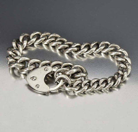 Antique Albert Watch Chain Heart Padlock Bracelet