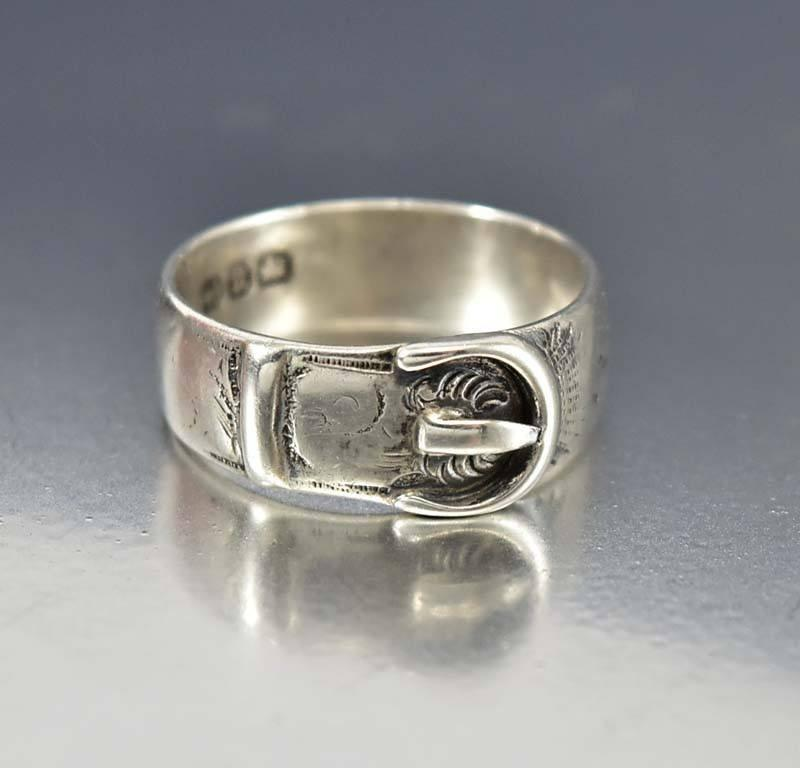 antique mens silver wedding band buckle ring sold out color silver ...