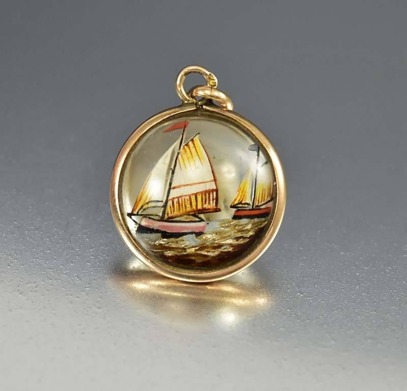 Antique Gold Sailboat Essex Crystal Pendant Fob Charm - Boylerpf