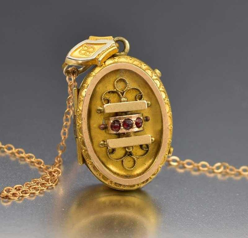 Fine Etruscan Gold Fill Garnet Locket Necklace C 1880s - Boylerpf