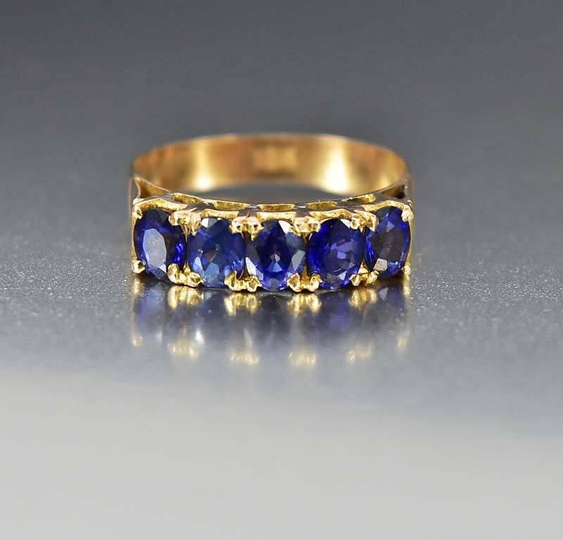 Late Victorian 18K Gold Five Stone Natural Sapphire Ring - Boylerpf