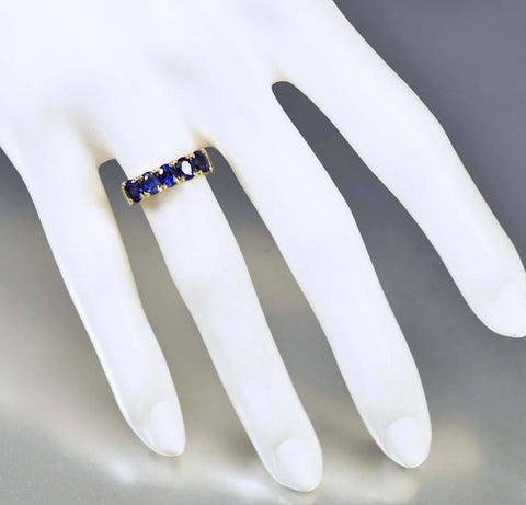 Late Victorian 18K Gold Five Stone Natural Sapphire Ring
