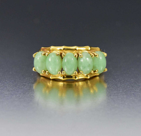 14K Gold Vintage Five Stone Jade Ring