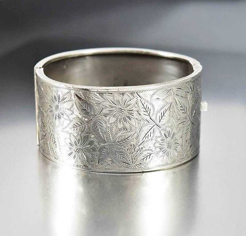 Antique Wide Sterling Silver Engraved Cuff Bracelet