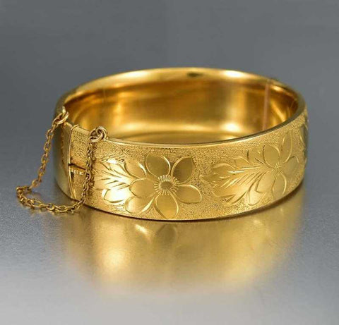 Forget Me Not Engraved Rolled Gold Bangle Bracelet