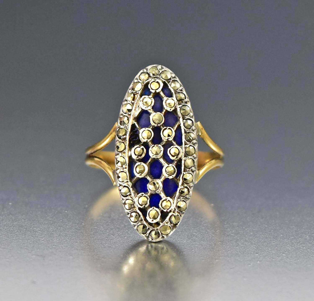 Antique French 18K Gold Blue Enamel Ring - Boylerpf