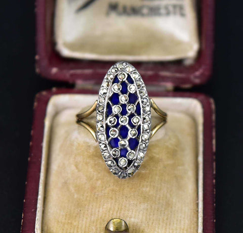 Antique French 18K Gold Blue Enamel Ring
