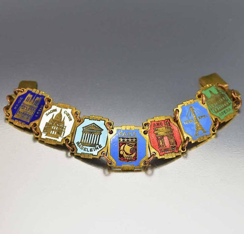 Paris France Enamel Art Deco Souvenir Bracelet