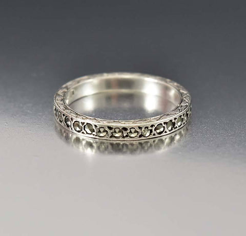 gar  engagement ring sterling silver filigree edwardian