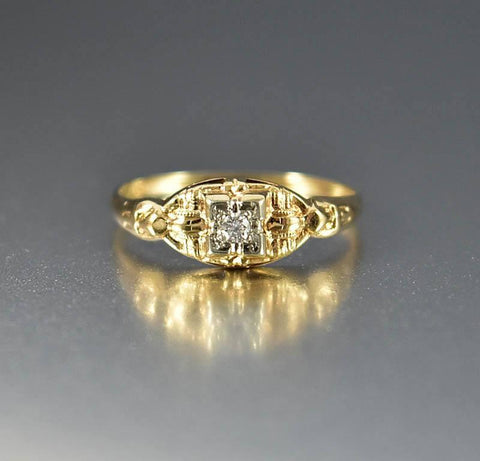 Two Tone Gold Diamond Art Deco Engagement Ring