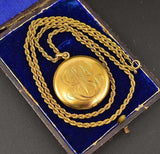Antique Engraved Edwardian 1/4 Gold Locket Necklace - Boylerpf