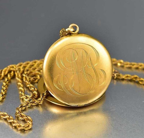 Antique Engraved Edwardian 1/4 Gold Locket Necklace