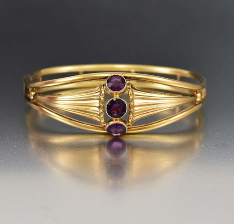 Art Nouveau Gold Simulated Amethyst Bangle Bracelet