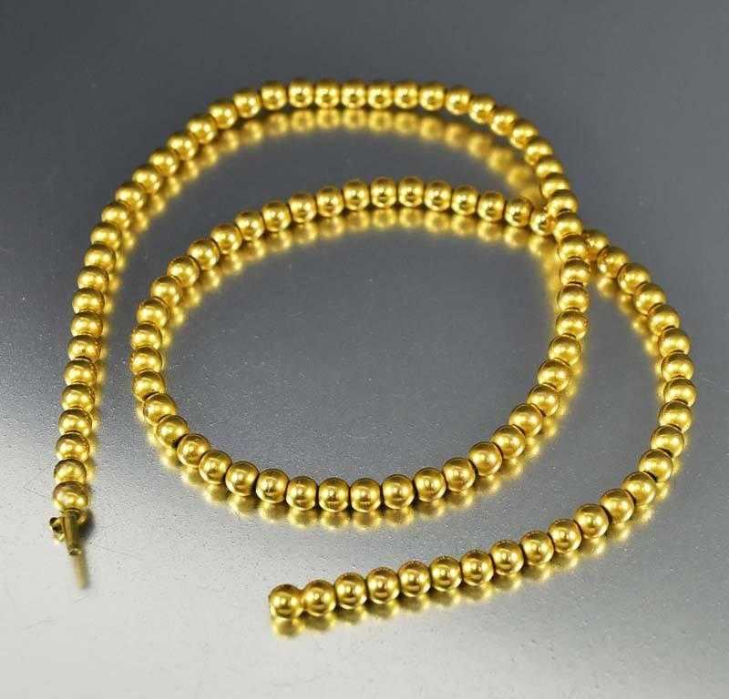 Antique Edwardian Gold Bead Choker Necklace - Boylerpf