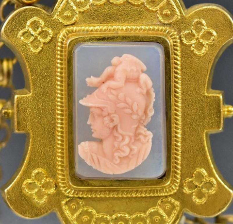 Coral Cameo Gold Filled Antique Etruscan Locket