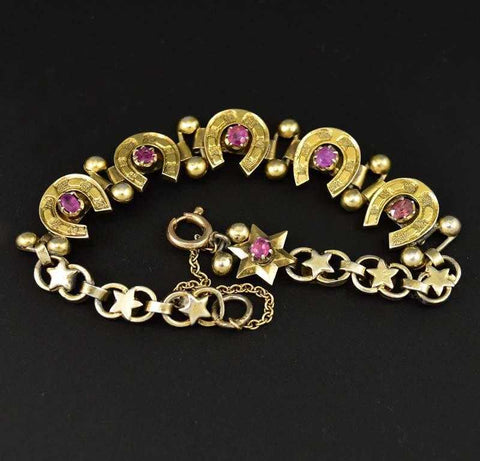 Antique Ruby Star and Lucky Horseshoe Bracelet