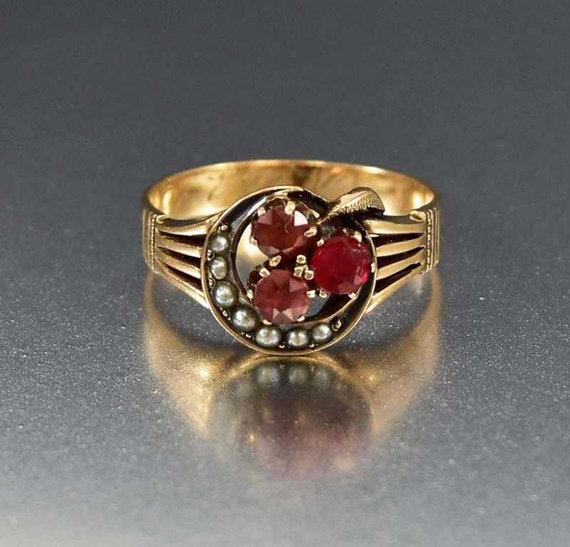 garnet ring antique clover boylerpf crescent pearl engagement gold products edited and moon rings
