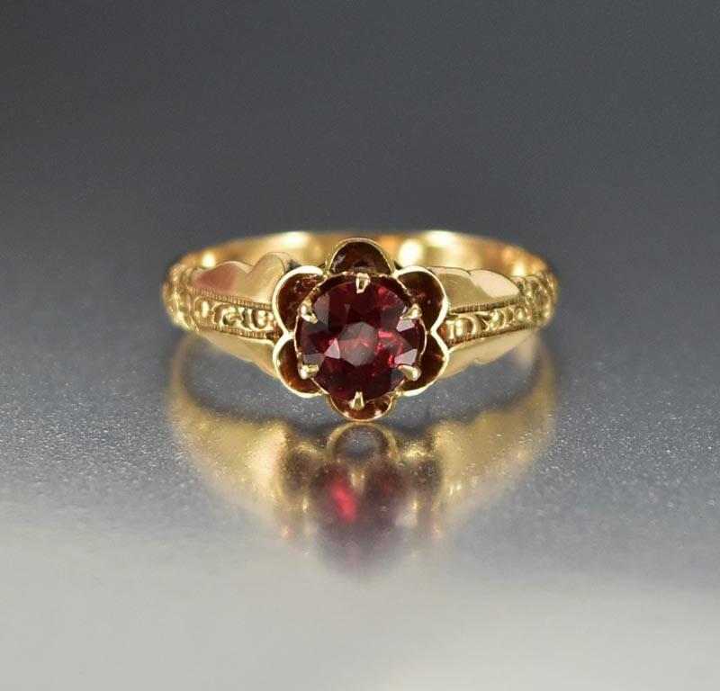 Antique Gold Victorian Garnet Engagement Ring - Boylerpf