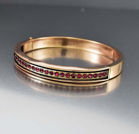 Garnet Paste 14K Rose Gold Fill Bangle Bracelet