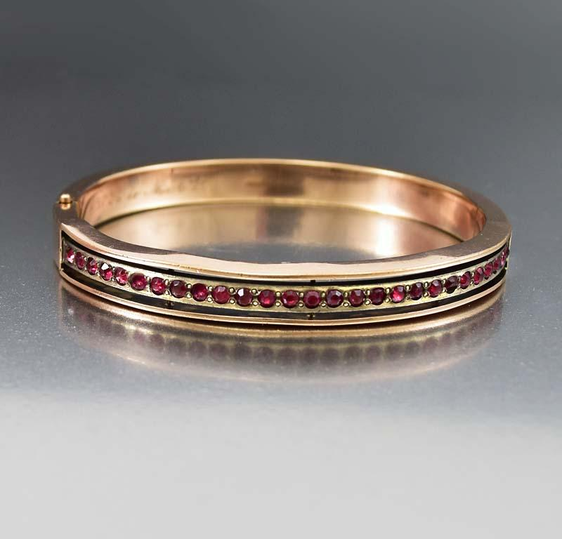 Garnet Paste 14K Rose Gold Fill Bangle Bracelet - Boylerpf