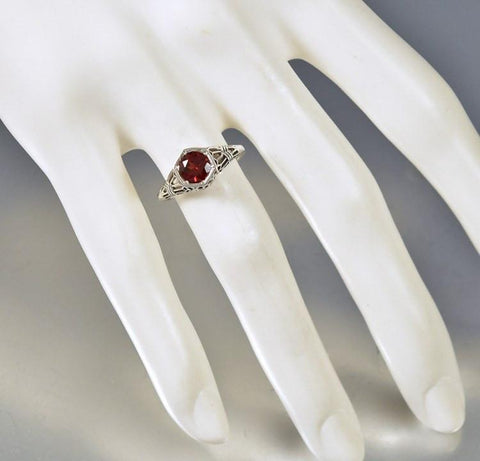Silver Filigree Garnet Engagement Ring Art Deco Inspired