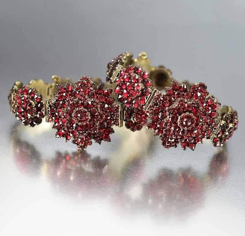 Pair Antique Garnet Wedding Bracelets w Fitted Case - Boylerpf