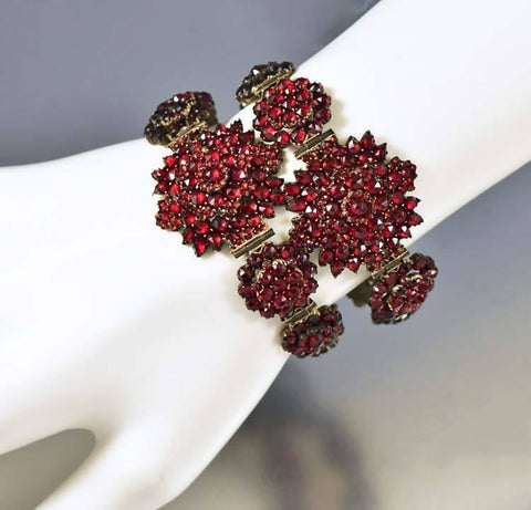 Pair Antique Garnet Wedding Bracelets w Fitted Case