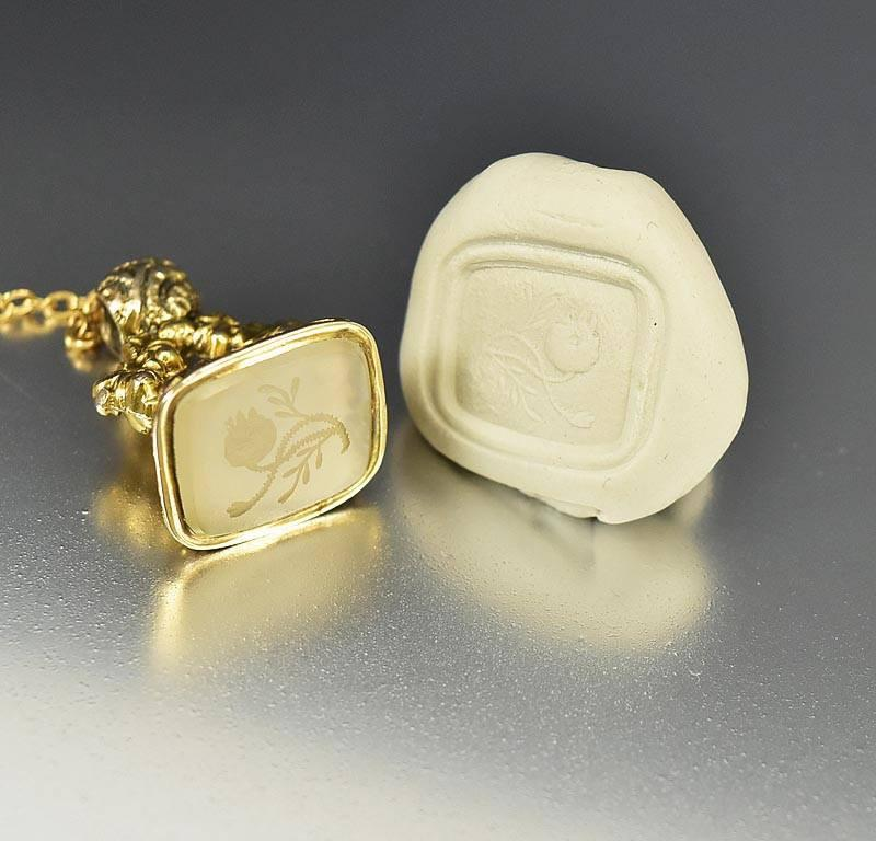 Antique 15K Gold Thistle Intaglio Wax Seal Stamp Pendant - Boylerpf