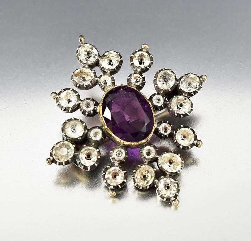 Antique Georgian Black Dot Paste Amethyst Brooch Pendant - Boylerpf - 1