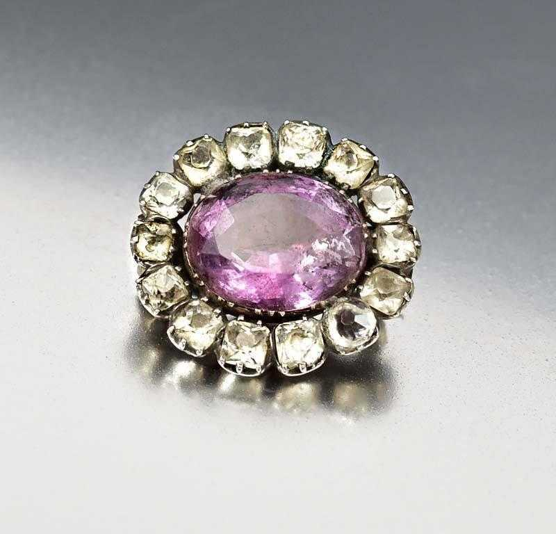 Antique Georgian Black Dot Paste Amethyst Brooch - Boylerpf