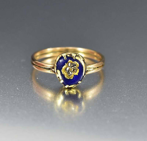 Antique Gold Enamel Forget Me Not Diamond Ring c.1830s