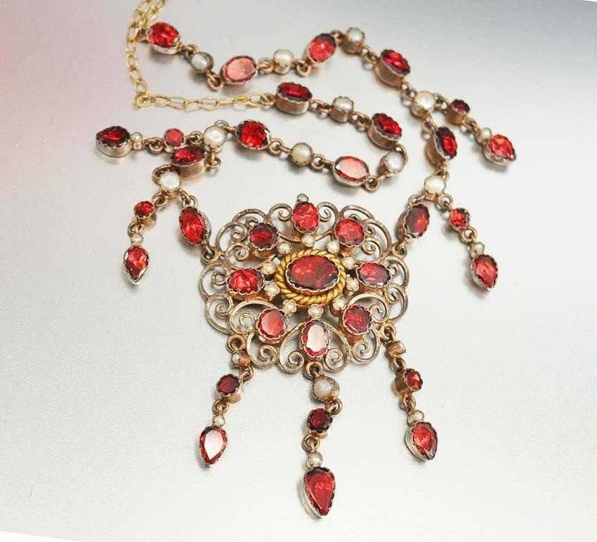 Antique Georgian Pearl Foil Back Garnet Necklace C. 1830s - Boylerpf