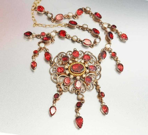 Antique Georgian Pearl Foil Back Garnet Necklace C. 1830s