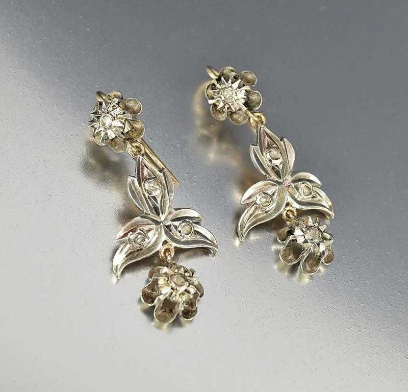 Antique Georgian 9ct Gold Silver Diamond Chandelier Pendant Earrings - Boylerpf
