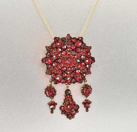 Antique Bohemian Garnet Chandelier Brooch Pendant