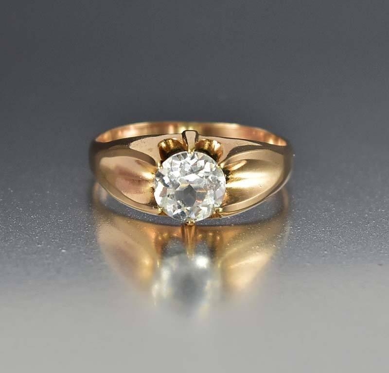Victorian Rose Gold Aquamarine Paste Belcher Ring - Boylerpf