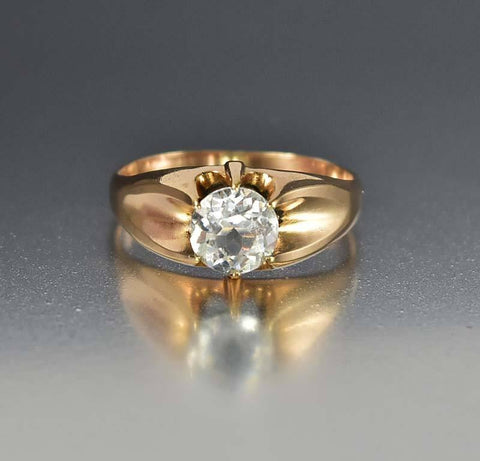 Victorian Rose Gold Aquamarine Paste Belcher Ring