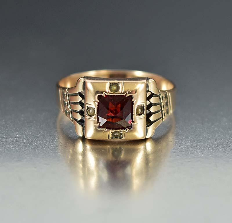 Antique 10K Rose Gold Garnet Engagement Ring - Boylerpf