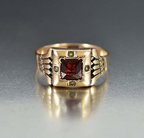 Antique 10K Rose Gold Garnet Engagement Ring