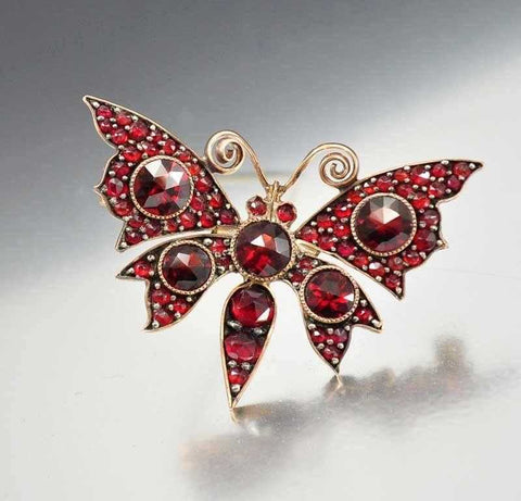 Antique Victorian Bohemian Garnet Butterfly Brooch