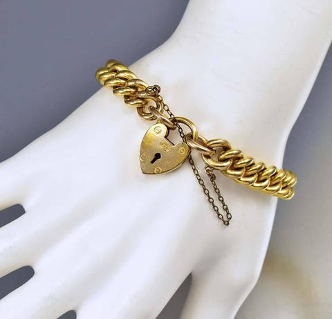 Antique Padlock Gold Curb Chain Victorian Bracelet ON HOLD