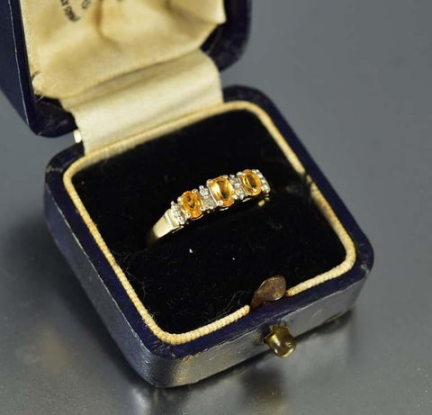 Citrine and Diamond Gold Wedding Band Ring